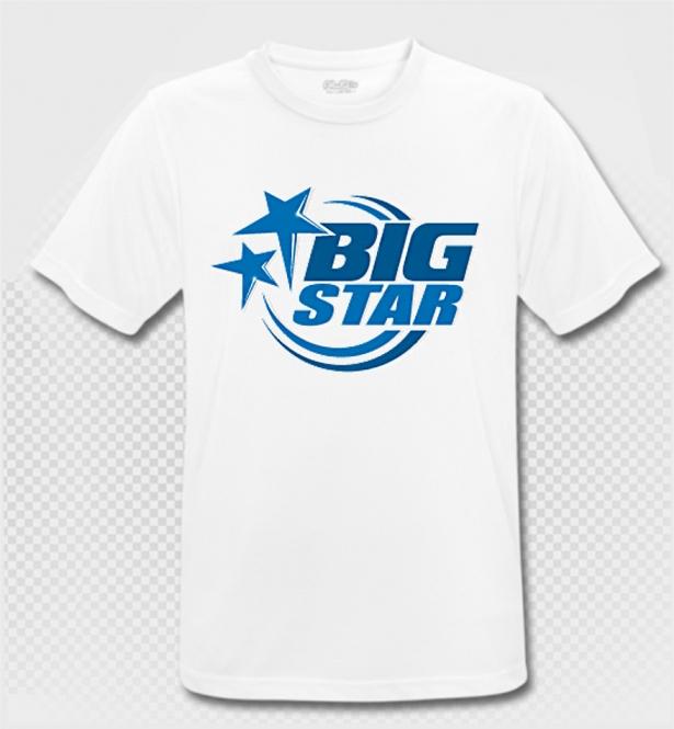 BIG STAR - T-Shirt - weiss/blau - Atmungsaktiv