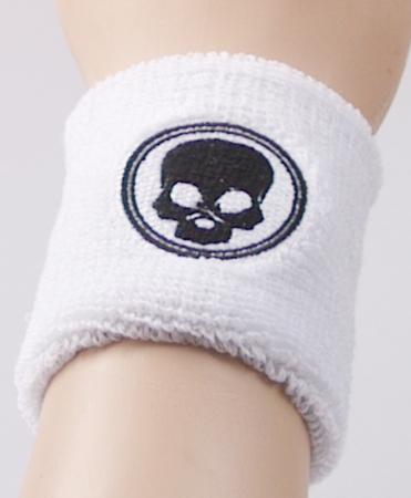 Black Skull - Schweissband - Wristband - weiss bs13555