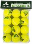 Tennisbälle - DISCHO STAGE 1 - gelb mit grünem Punkt - 12 Bälle im Polybag
