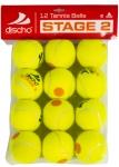 Tennisbälle - DISCHO STAGE 2 - gelb mit orangem Punkt - 12 Bälle im Polybag