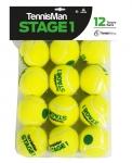 Tennisbälle - TENNISMAN STAGE 1 gelb mit grünem Punkt - 12er Pack