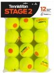 Tennisbälle - TENNISMAN STAGE 2 gelb mit orangen Punkt - 12er Pack