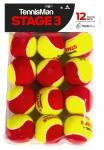 Tennisbälle - TENNISMAN STAGE 3 gelb/rot - 12er Pack